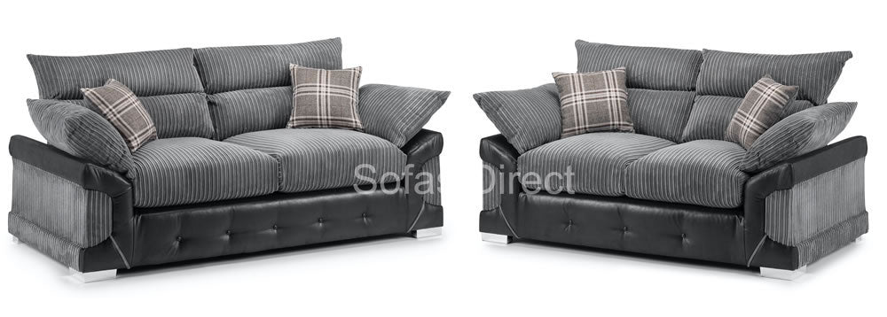 Fabric & Faux Leather Sofa Set - SD138
