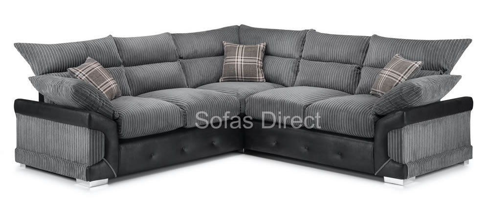 Fabric & Faux Leather Corner Sofa - SD138