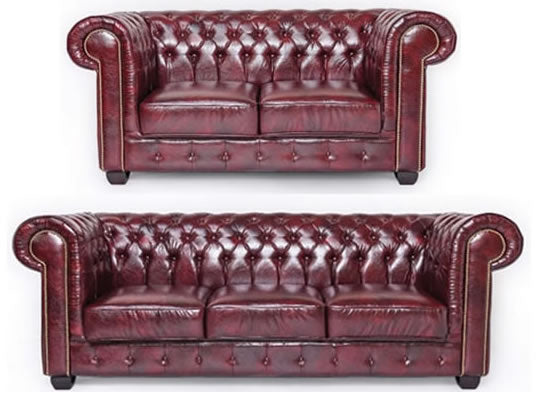 Red leather chesterfield 2 piece suite