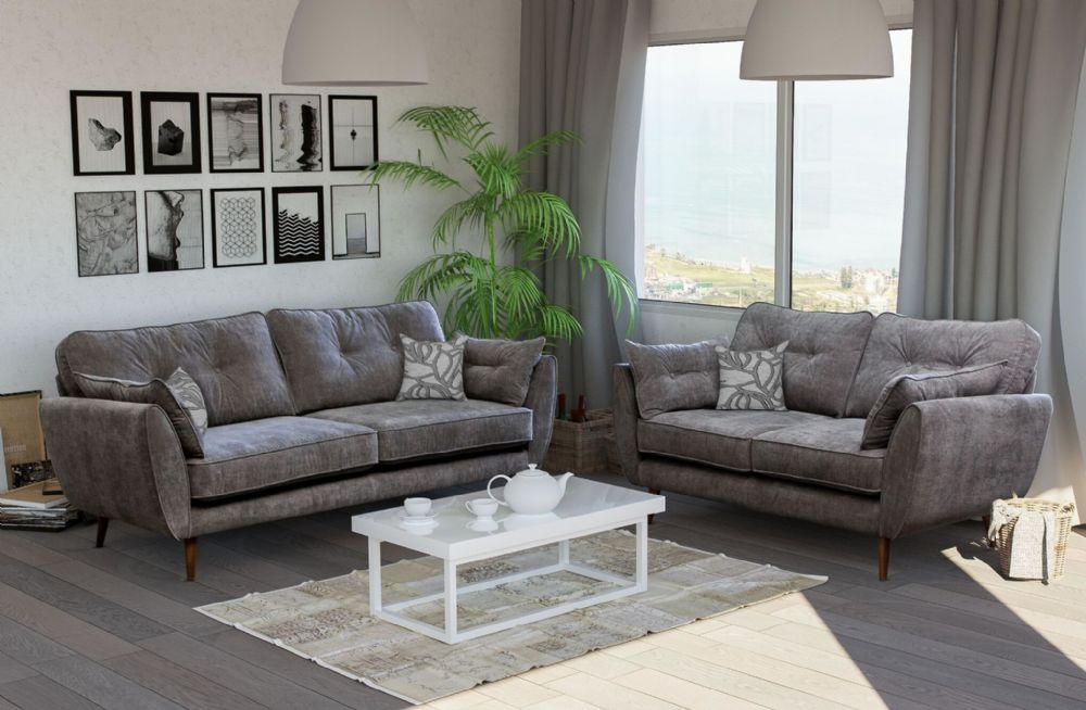 2 Seat Grey Fabric Sofa - SD081