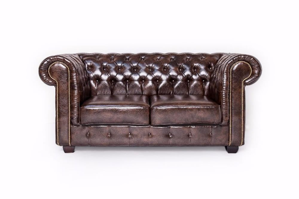 Antique Brown Chesterfield Leather Two Piece Set - SD061