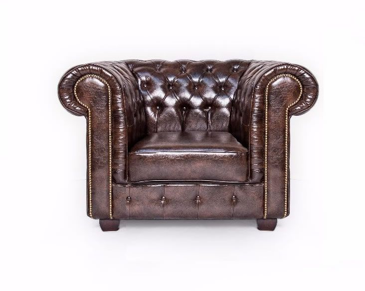 Antique Brown Chesterfield Leather Suite - SD061