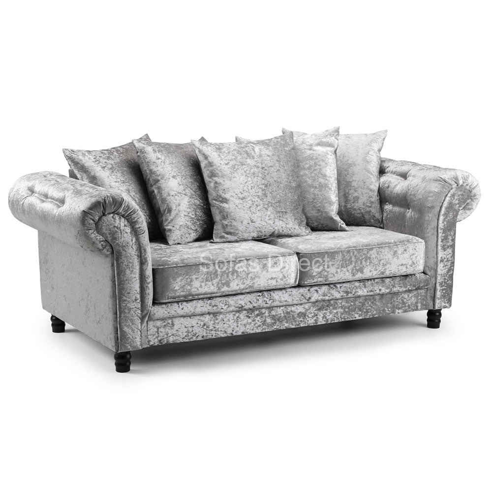 Crushed Velvet Cushion Back Three Seat Sofa - SD135