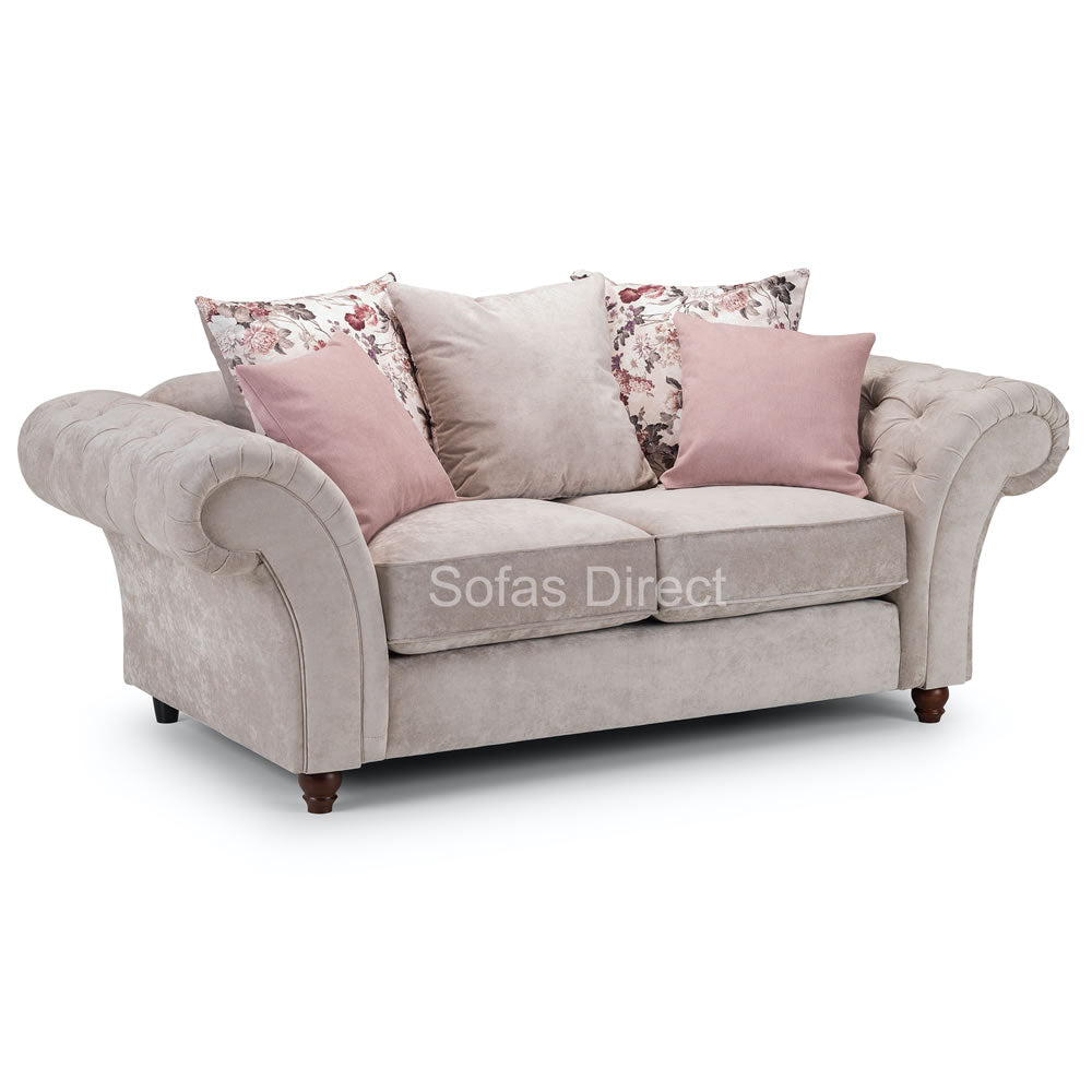 Two Seat Grey Fabric Chesterfield Sofa - SD049