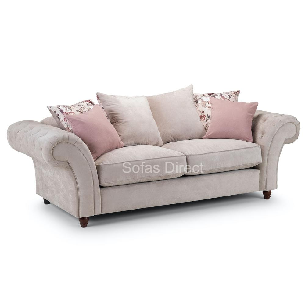 Three Seat Grey Fabric Chesterfield Sofa - SD049