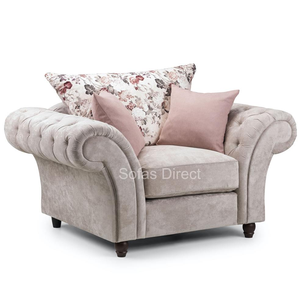Grey Fabric Chesterfield Arm Chair - SD049