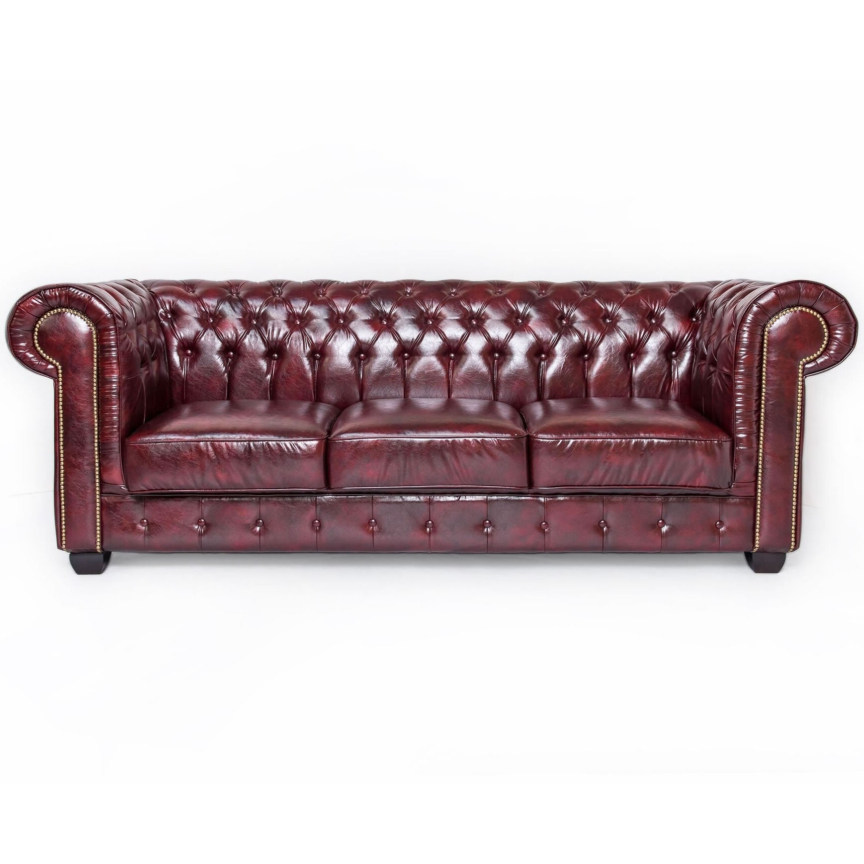 Oxblood Red Leather Chesterfield 3 Seat Sofa - SD061