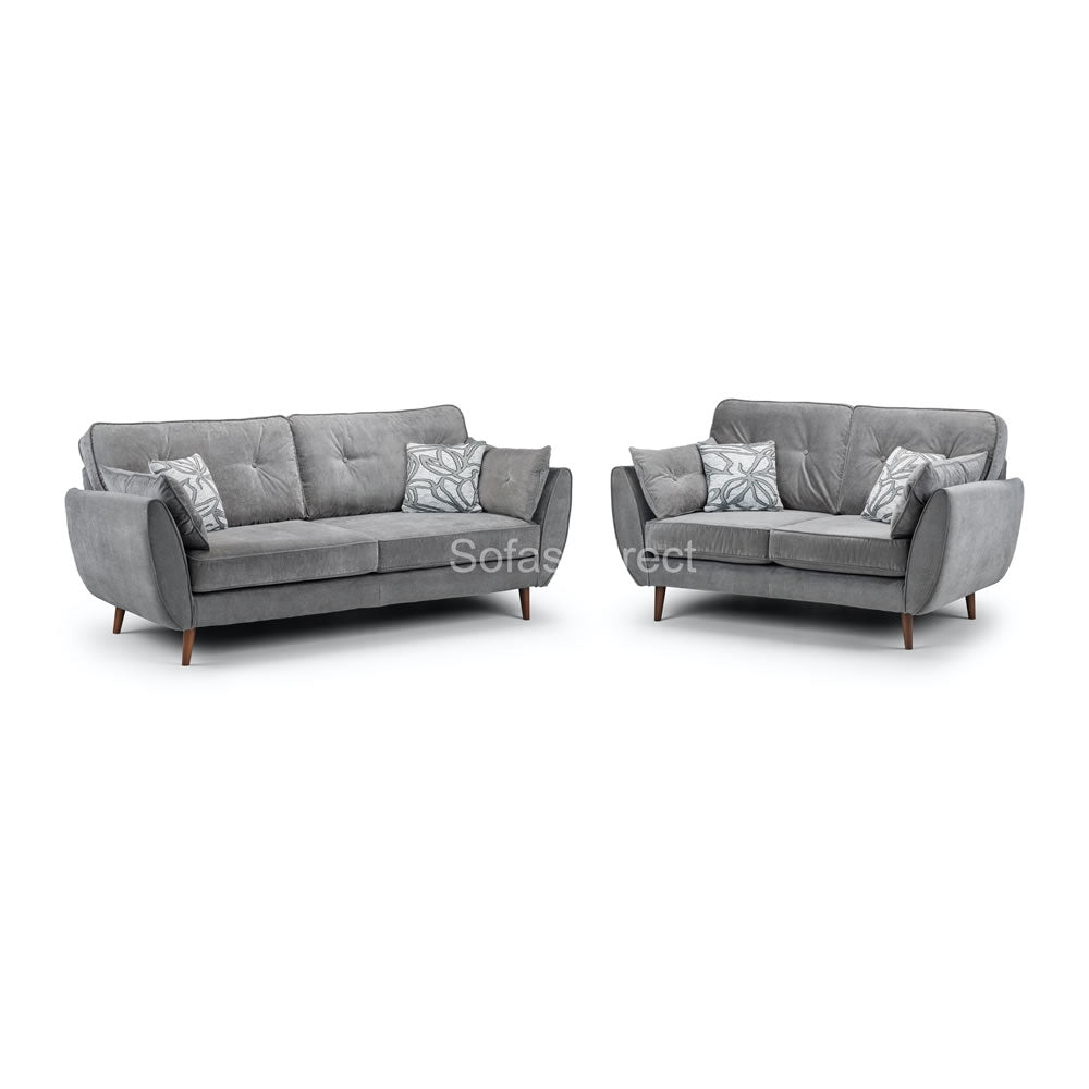 2 Piece Grey Fabric Sofa Set - SD081
