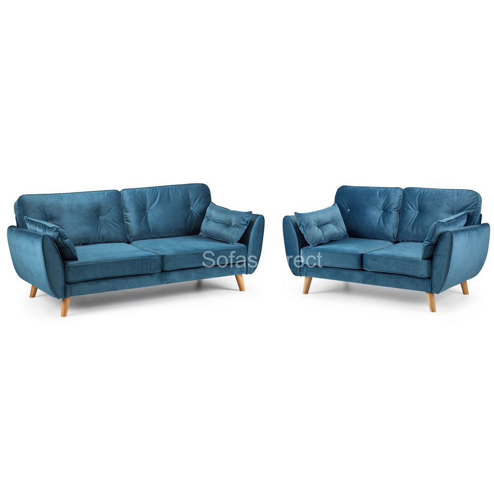2 Piece Blue Velvet Fabric Sofa Set - SD081