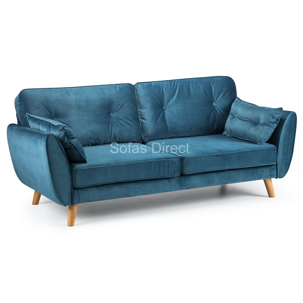 Blue Velvet Three Seat Fabric Sofa - SD081