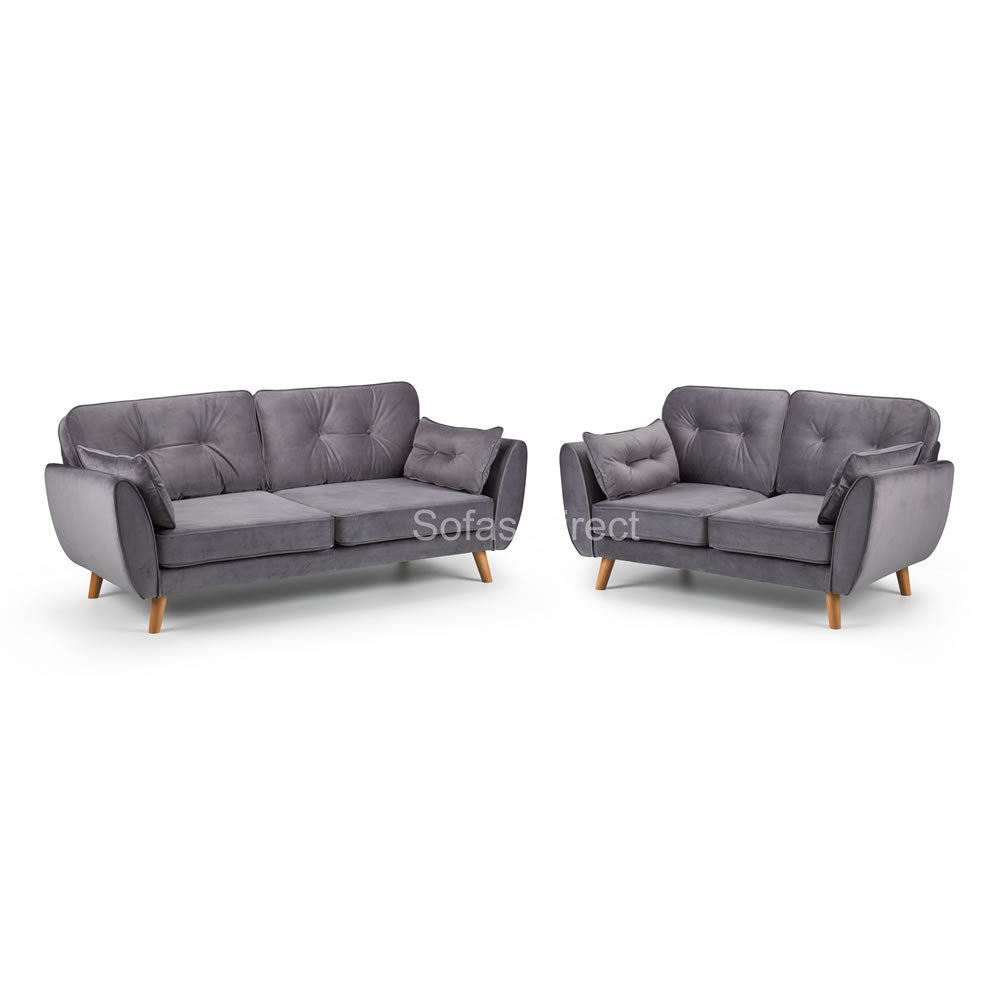 2 Piece Grey Velvet Fabric Sofa Set - SD081