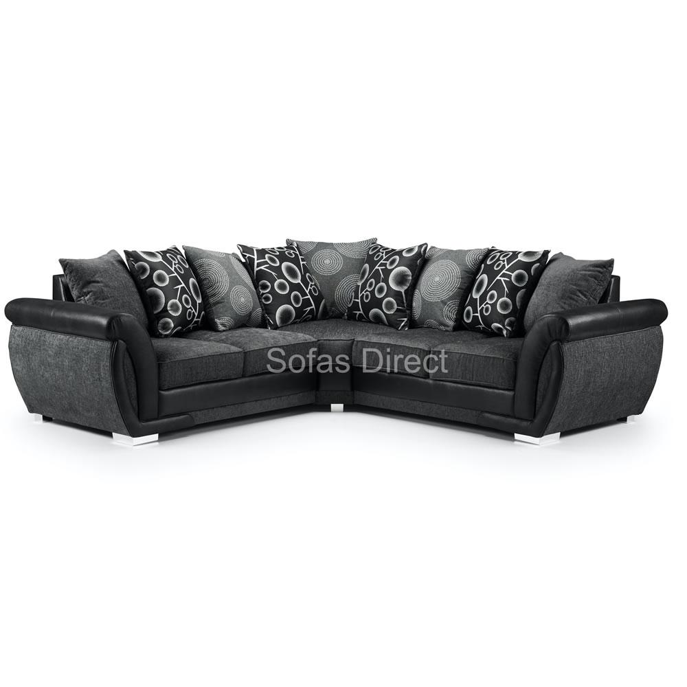Large Grey & Black Fabric Corner Sofa - SD098