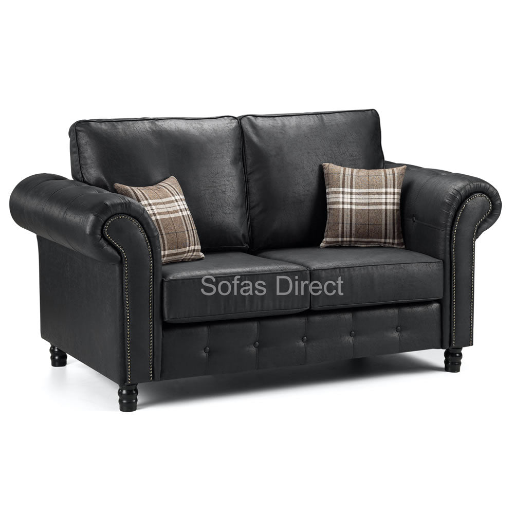 Black Leather Two Seat Sofa - SD099