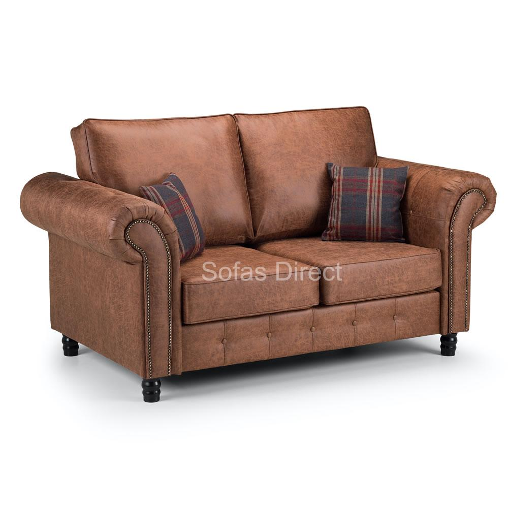 Tan Leather Two Seat Sofa - SD099