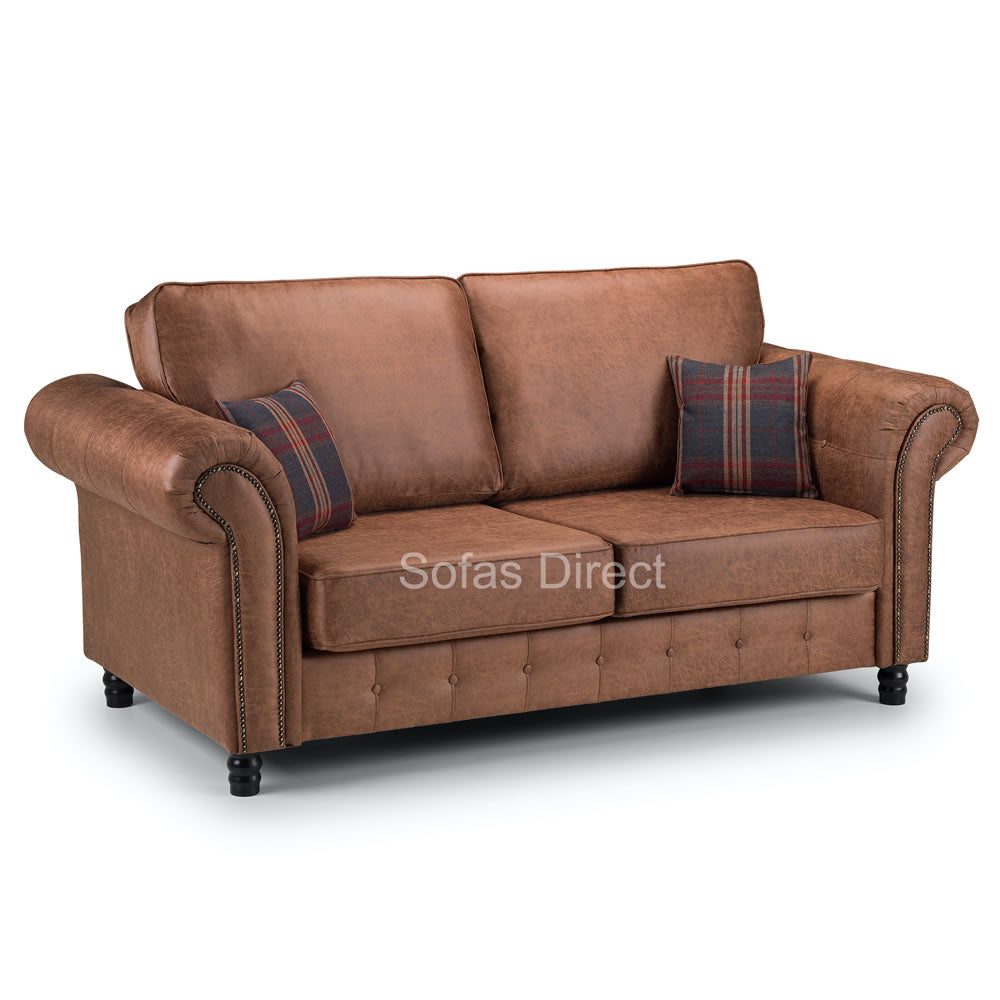 Tan Leather Two Piece Sofa Set - SD099