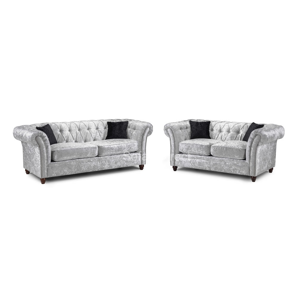 Silver Crushed Velvet Sofa Set - SD108