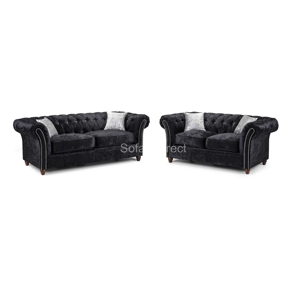 Black Crushed Velvet Sofa Set - SD108
