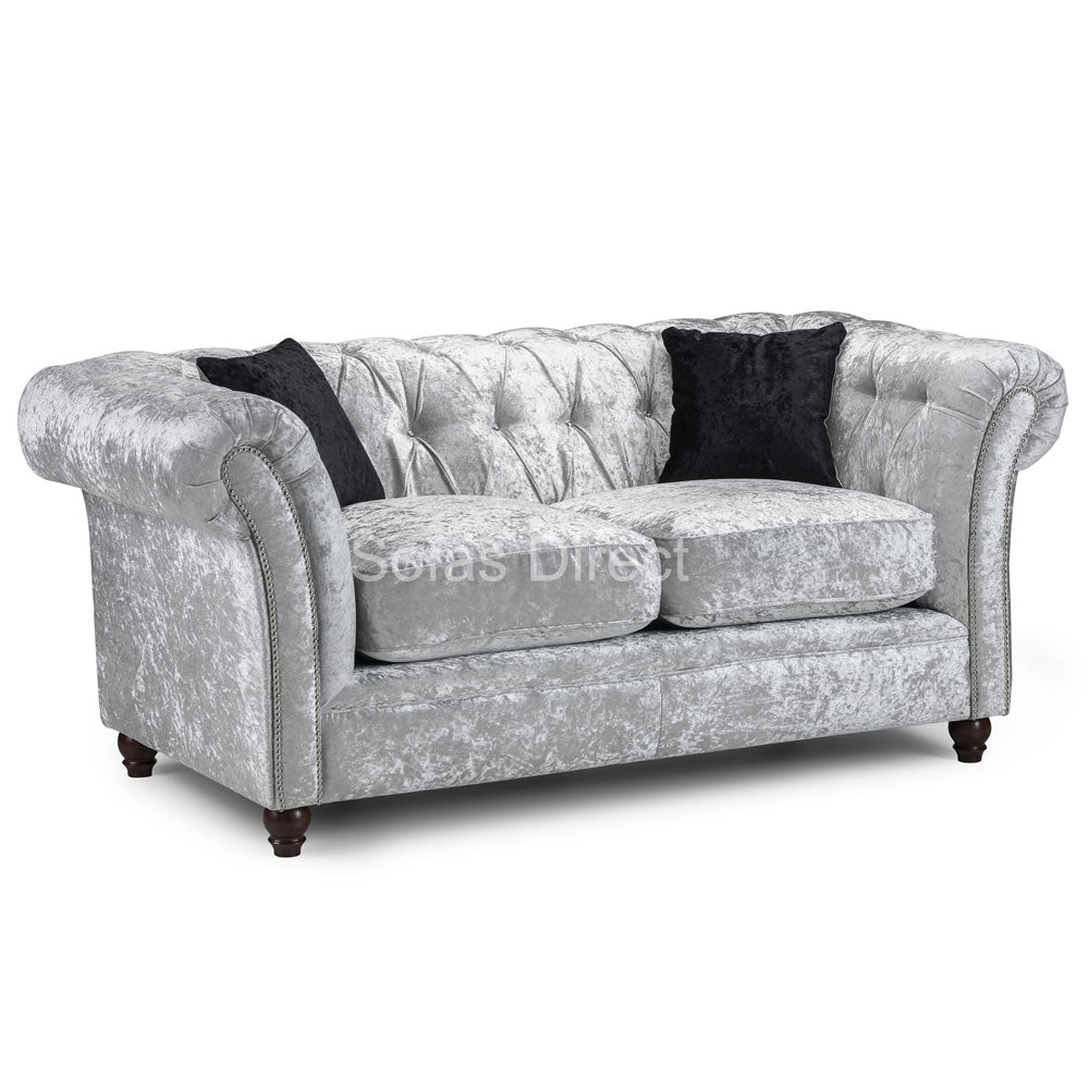 Silver Crushed Velvet 2 Seat Sofa - SD108