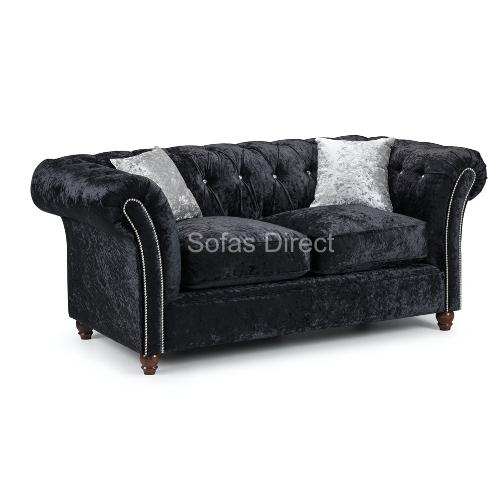 Black Crushed Velvet 2 Seat Sofa - SD108