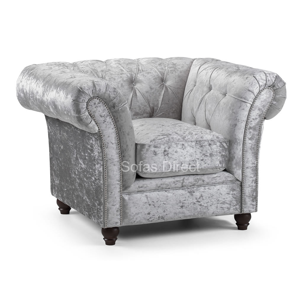 Silver Crushed Velvet Arm Chair - SD108