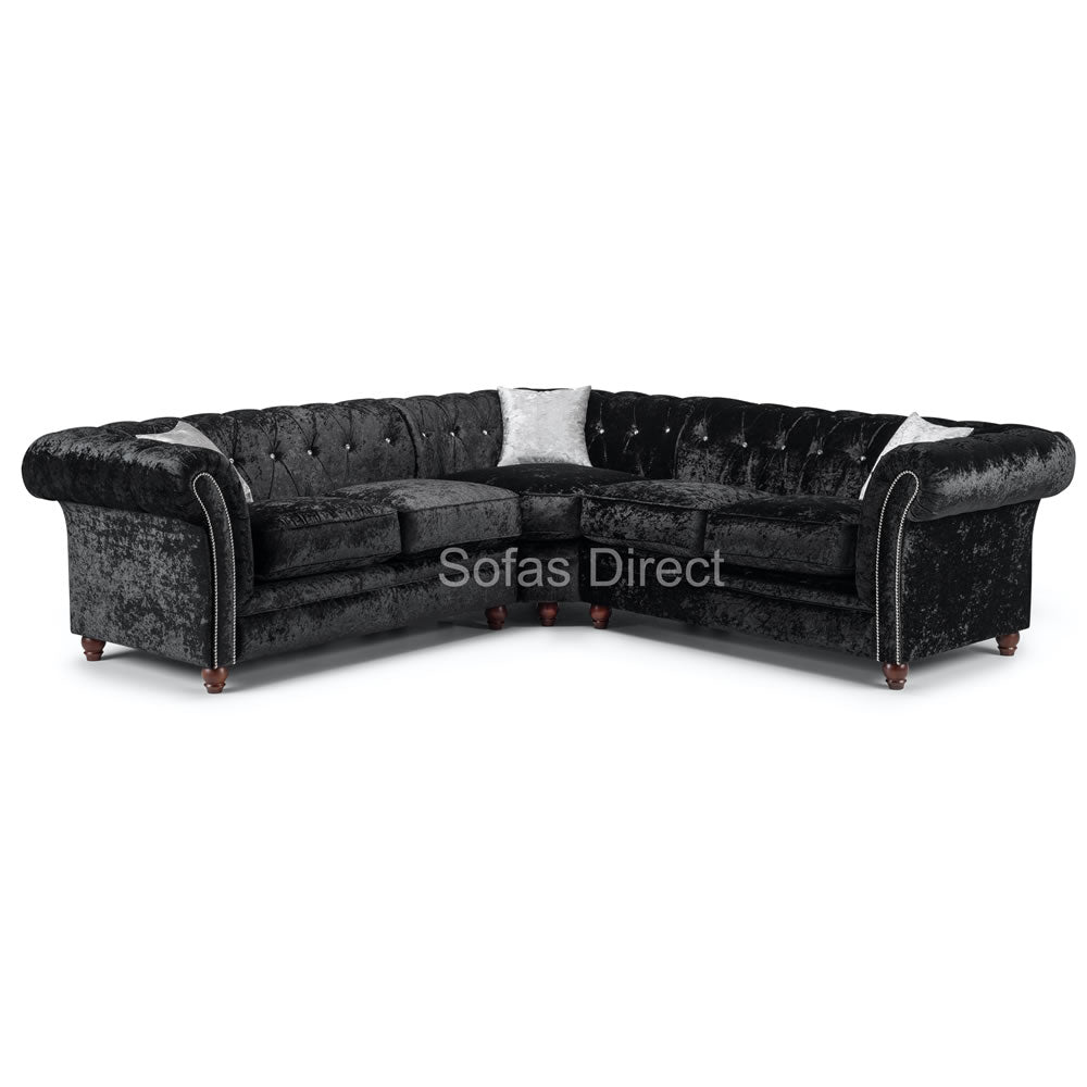 Large Black Chesterfield Corner Sofa - SD108