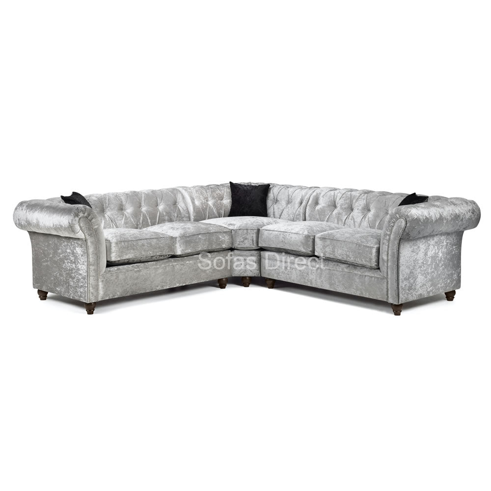 Large Silver Chesterfield Corner Sofa - SD108