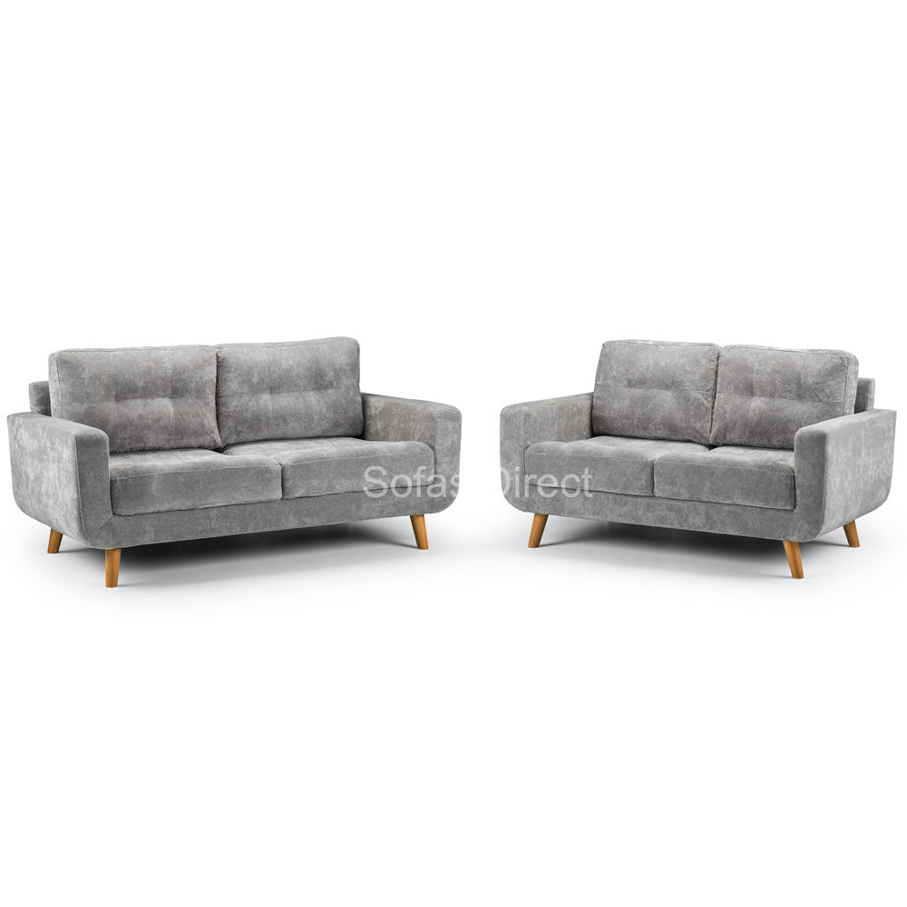 Two Piece Grey Fabric Sofa Set - SD114