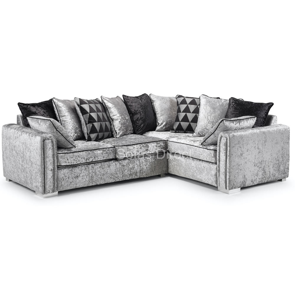 2C1 Silver Crushed Velvet Corner Sofa - SD115