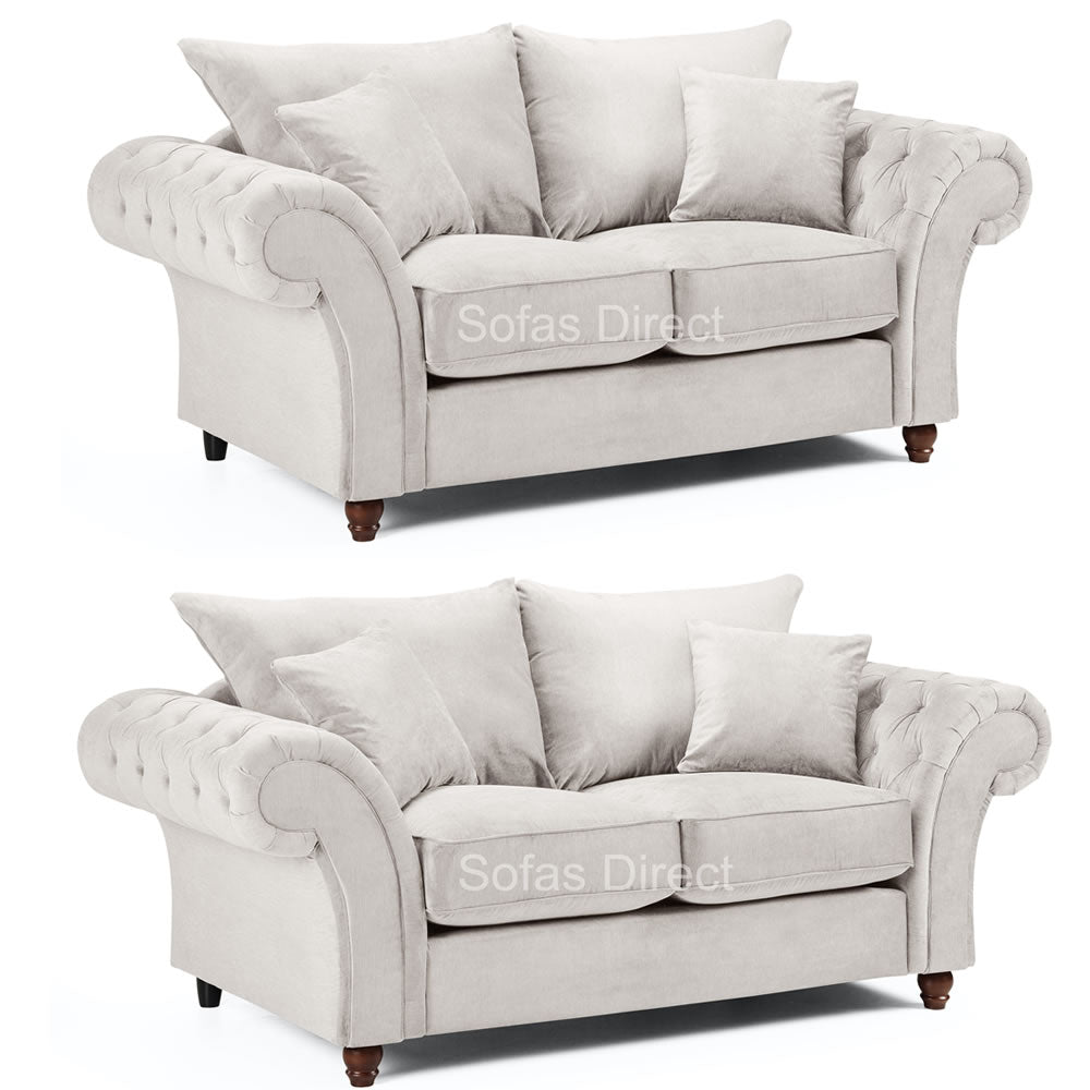 2 x Stone Fabric 2 Seater Sofas - SD123
