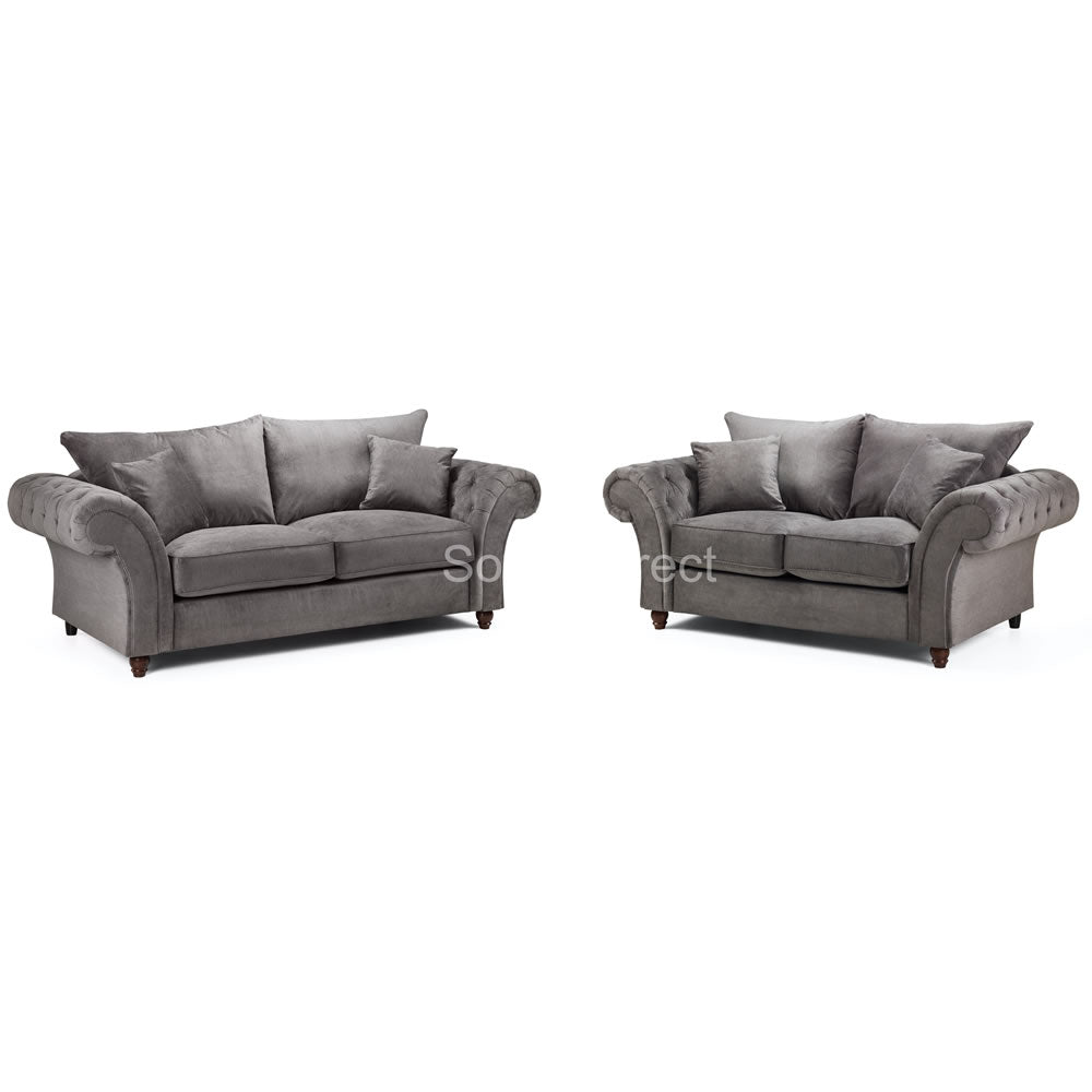 2 Piece Grey Fabric Sofa Set - SD123