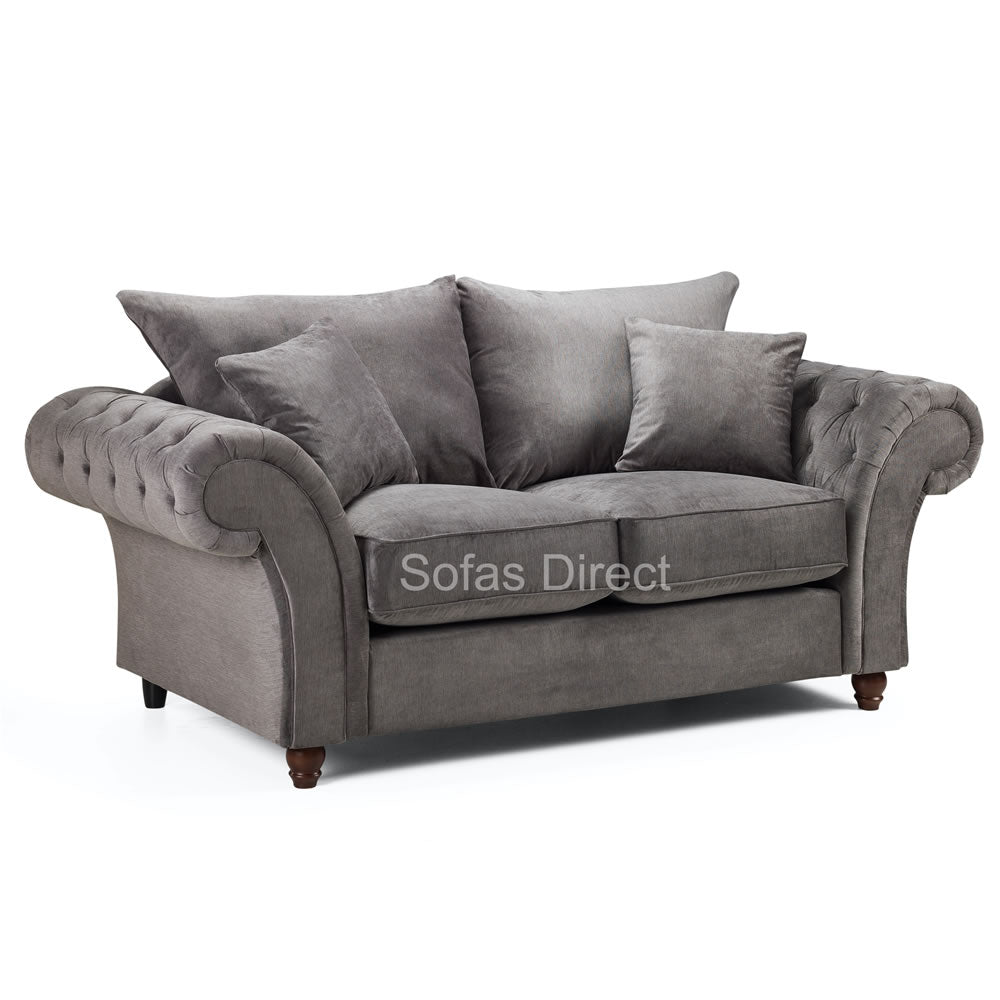 2 x Grey Fabric 2 Seater Sofas - SD123