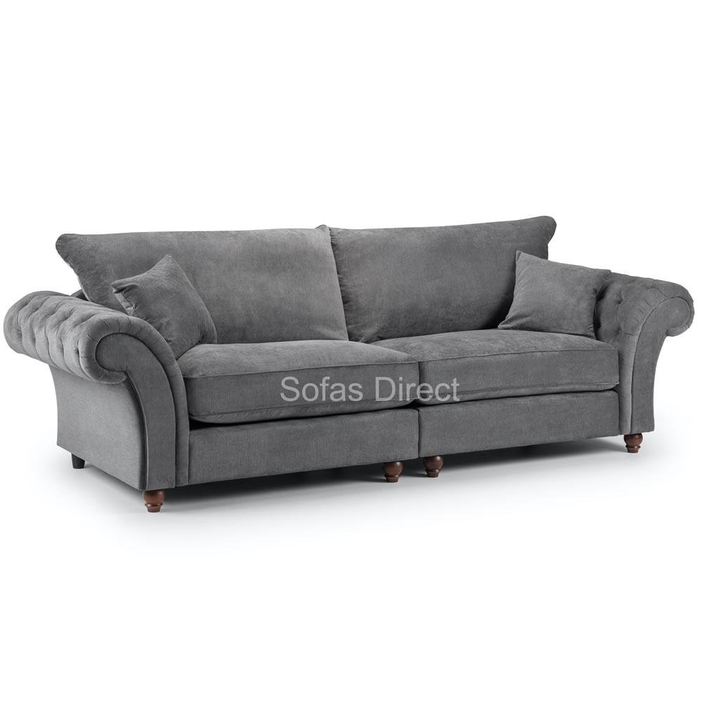 Grey Fabric 4 Seater Sofa - SD123