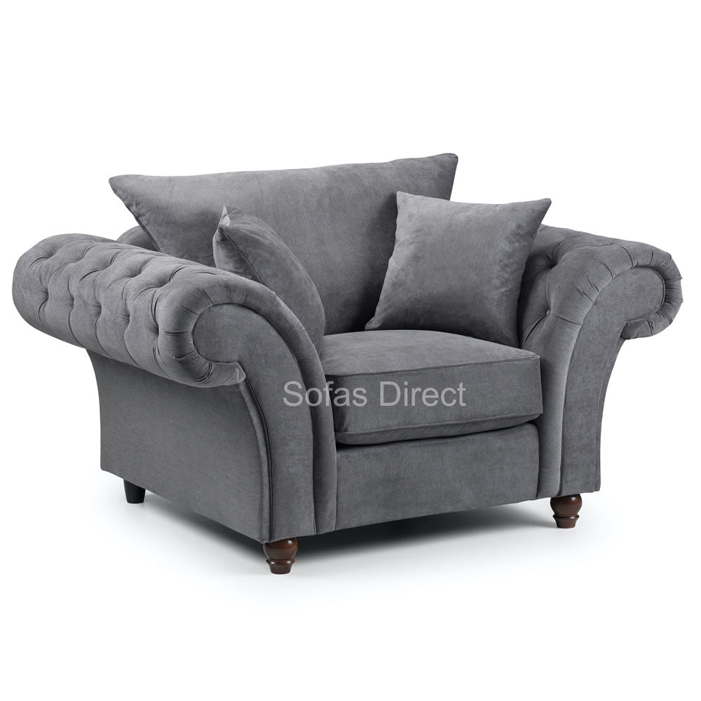 Luxury Dark Grey Fabric Arm Chair - SD123