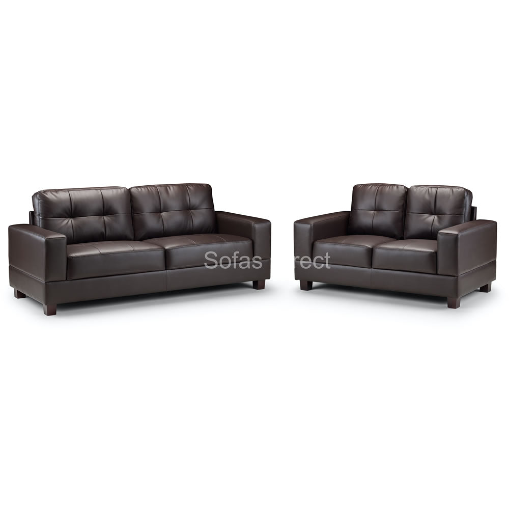 2 Seat Brown Leather Sofa - SD124