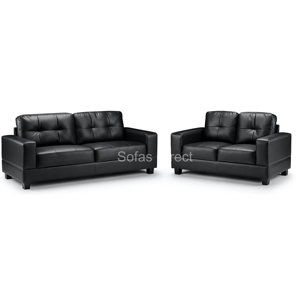 2 & 3 Seat Black Leather Sofa Set - SD124