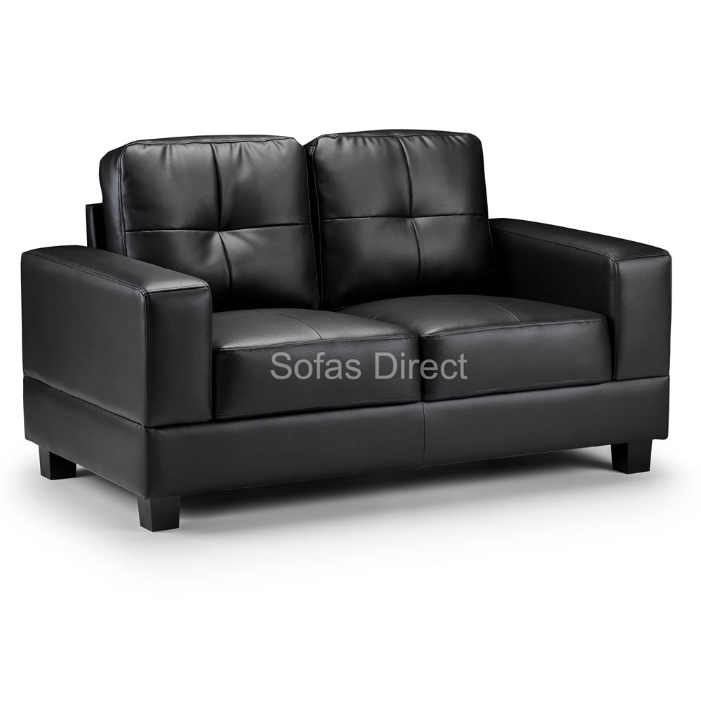 2 Seat Black Leather Sofa - SD124
