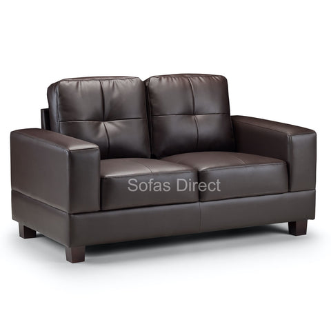 SD124 2 Seat Brown Leather Sofa