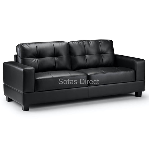 3 Seat Black Leather Sofa - SD124