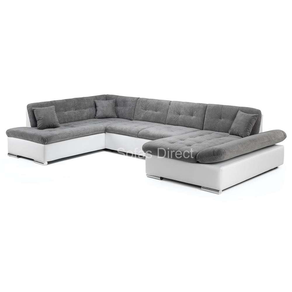 U Shape White & Grey Corner Sofa Bed - SD131