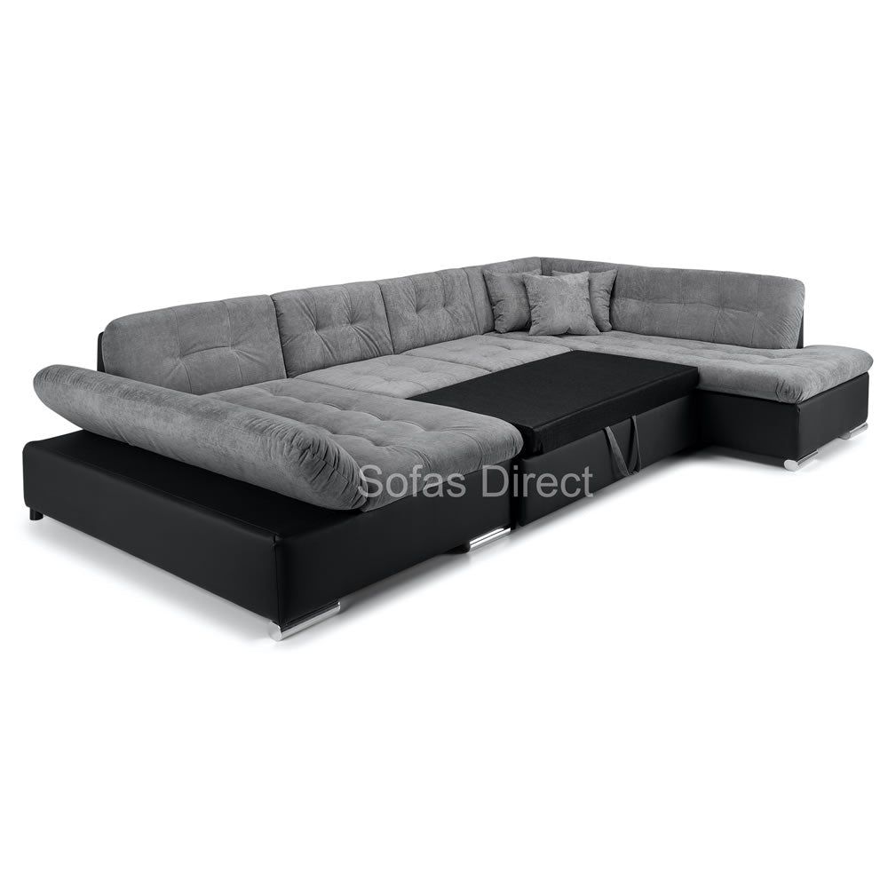 U Shape Black & Grey Corner Sofa Bed - SD131