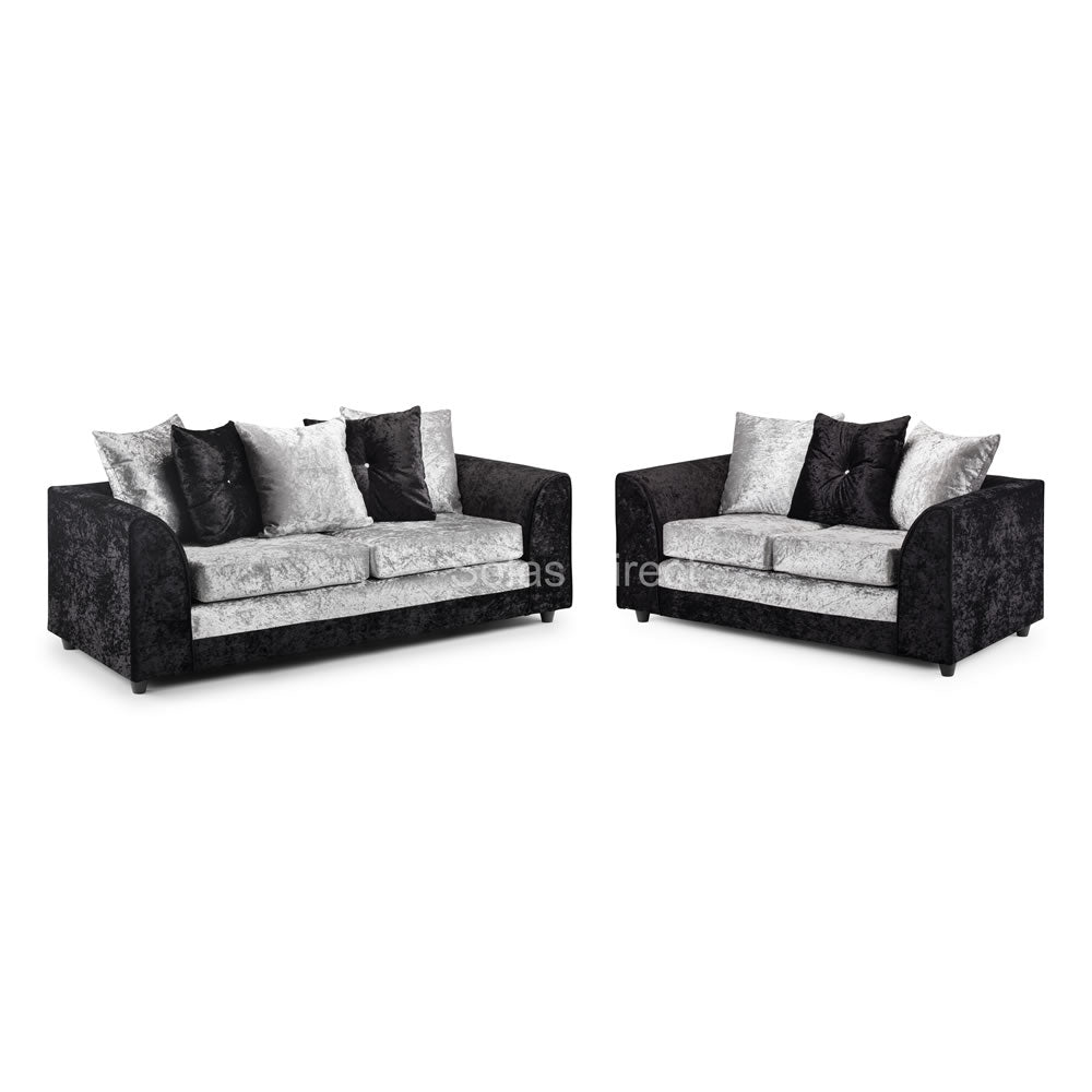 Silver & Black Cushion Back Sofa Set - SD134