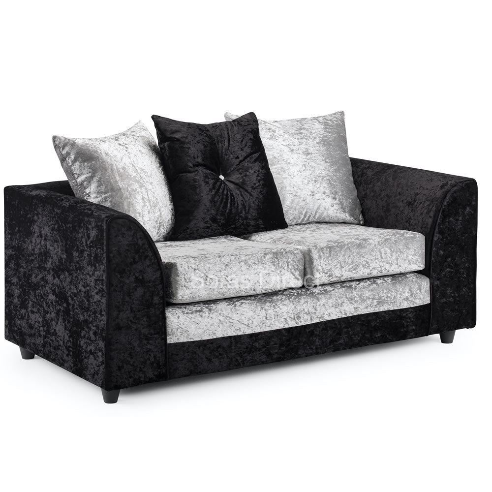 Silver & Black Cushion Back Two Seat Sofa - SD134