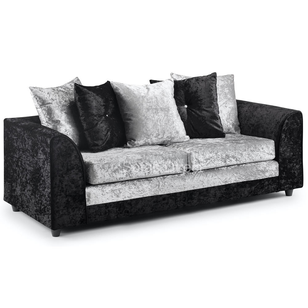 Silver & Black Cushion Back Three Seat Sofa - SD134