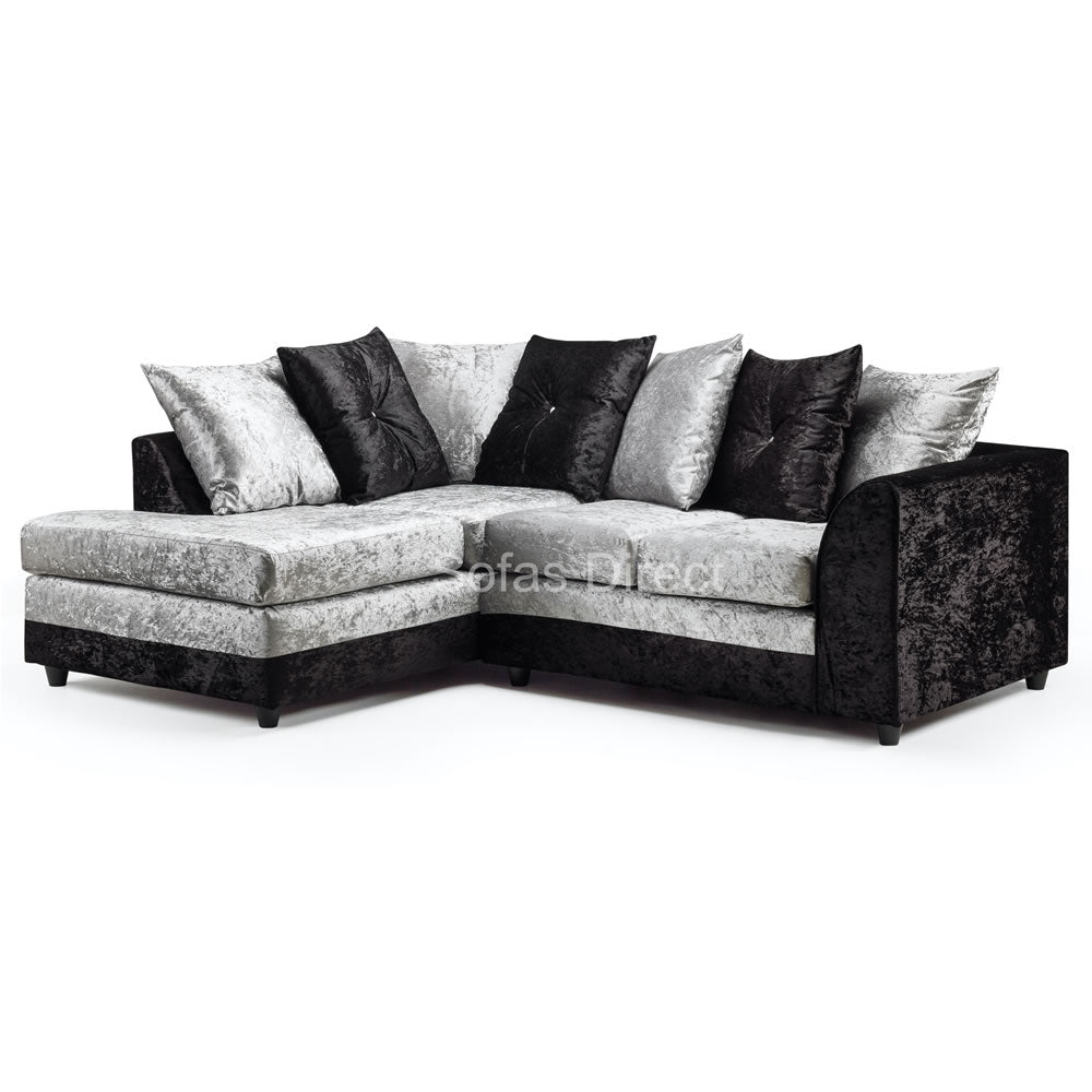 Silver & Black Cushion Back Corner Sofa - SD134