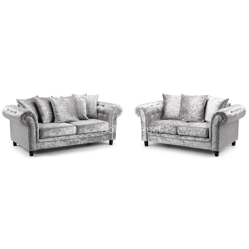 Crushed Velvet Cushion Back Sofa Set - SD135