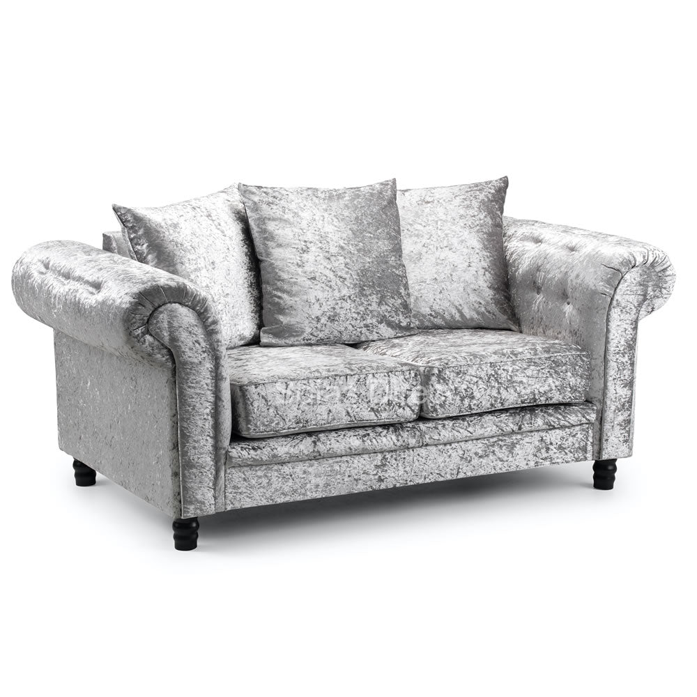 Crushed Velvet Cushion Back Two Seat Sofa - SD135
