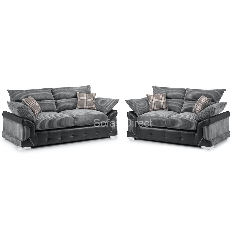 Fabric & Faux Leather 3 Seat Sofa - SD138