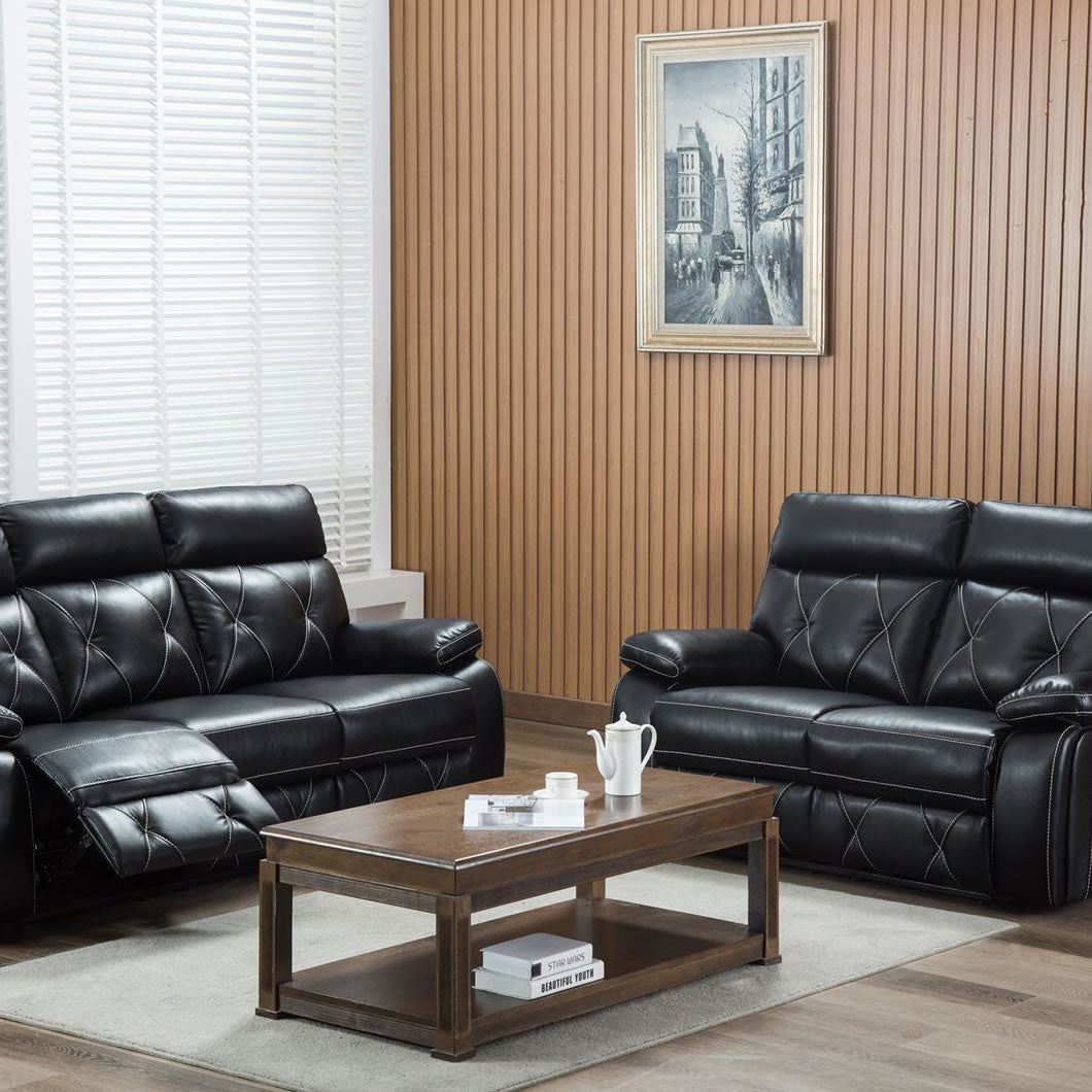Black Leather Air Reclining Sofa Set Sd200