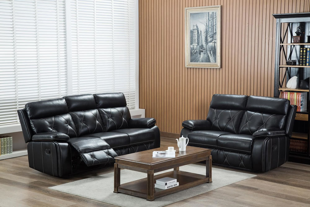 Black Leather Air Reclining 2 Seat Sofa - SD200