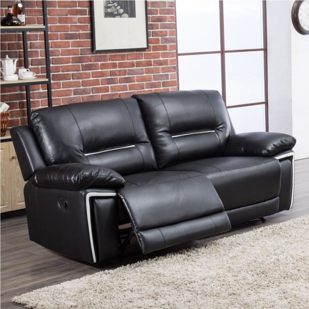 Black Bonded Leather Reclining 3 Seat Sofa - SD201